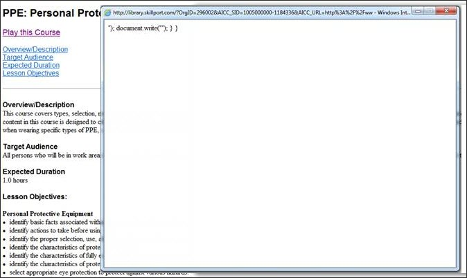 Browser window displaying a code snippet that includes the words document.write