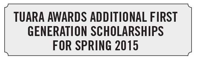 First Generation Scholarships fall 2015