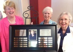Dr. Judy Bonner (left), Martha Rogers and Mildred Switzer celebrate the plaque unveiling