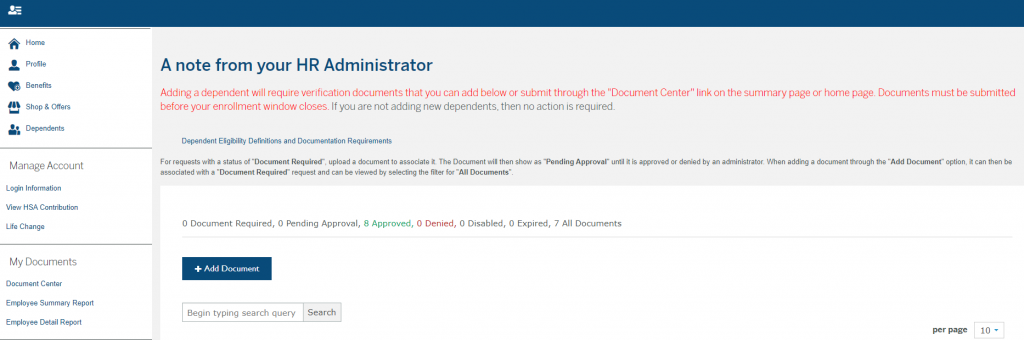 BenefitFocus Document Center Screenshot